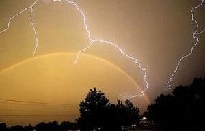 rainbow and lightening