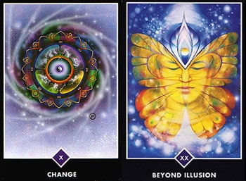 Wheel of Fortune-Jupiter, and Beyond Illusion- Pluto. From The Osho Zen Tarot