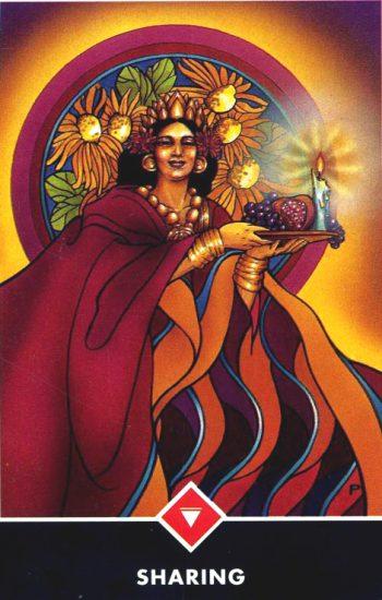 Queen of Fire tarot card Sharing