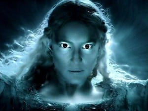 Galadriel embracing her power to fight evil. From the movie Hobbit The 5 Armies
