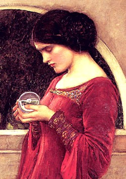 The Crystal Ball detail from painting by John William Waterhouse